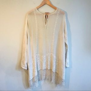 Johnny Was Tops - Johnny Was Embroidered Tunic In Cream